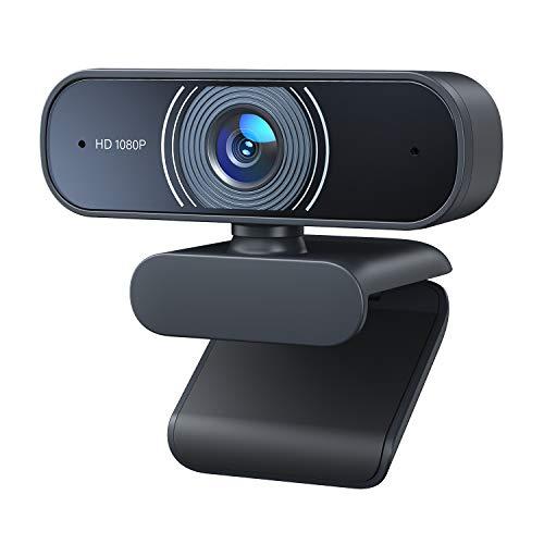 RaLeno Cámara web Full HD 1080P con doble micrófono, gran angular de 80°, con enfoque automático, Plug & Play, para Zoom, Skype, Win10, Mac OS X, Android