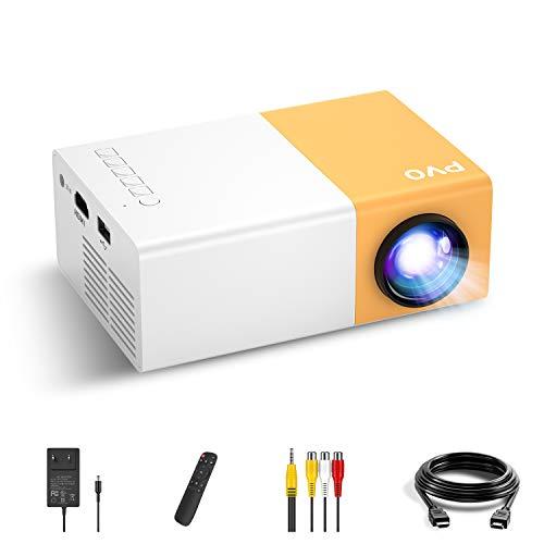 Mini Projecteur, PVO Vidéoprojecteur Portable pour Dessins Animés, Cadeau Fille Garçon, Pico Rétroprojecteur à LED pour Home Cinéma, Compatible avec HDMI USB TV AV et Télécommande.