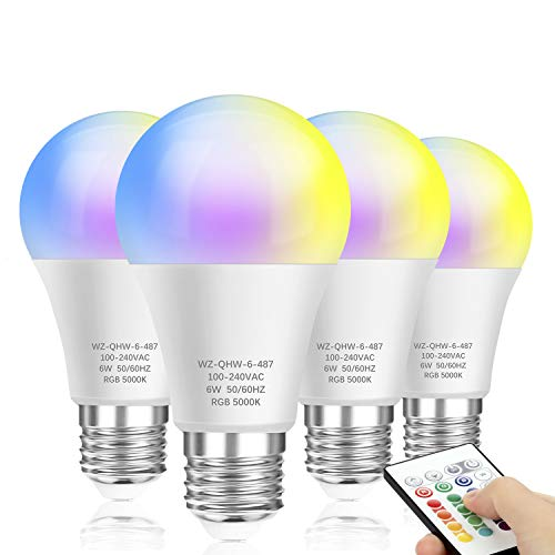 4-Pack Color Changing Light Bulbs with Remote, A19 E26 Screw Base, Dimmable LED Light Bulbs, RGBW & Daylight White, 60 Watt Equivalent, 16 Colors Memory Function Decorative Lights for Bar, Party, Home