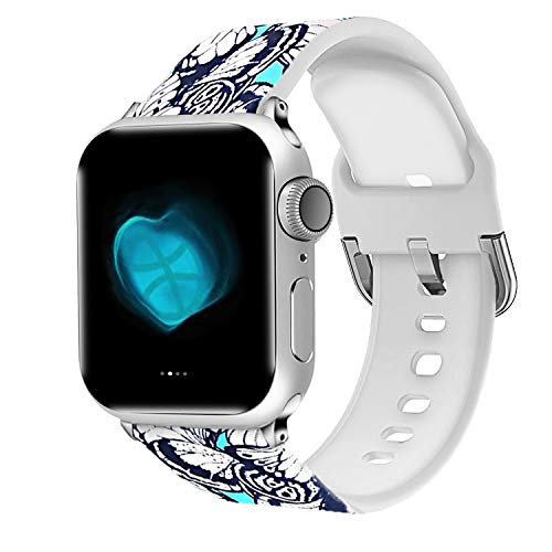 Uhada Compatible Apple Watch Series 4/3/2/1 Band 38mm 40mm 42mm 44mm, Choose Color-Soft Silicone Fashion Classic Slim Sports Replacement for iWatch Bands (Flower-03, 38mm/40mm)