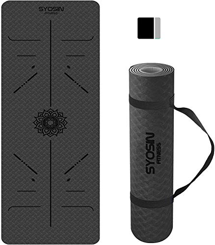 SYOSIN Yoga Mat, 6mm TPE Non-Slip Yoga Mat for Workout Eco Friendly Exercise Mat for Home Gym, Fitness Mat for Training, Yoga, Pilates 183 x 61 x 0.6CM (PURPLE-PINK) (Blackgrey)