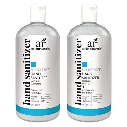 Artnaturals Alcohol Based Hand Sanitizer Gel (2 Pack x 8 Fl Oz / 220ml) Infused with Alovera Gel, Jojoba Oil & Vitamin E - Unscented Fragrance Free Sanitize