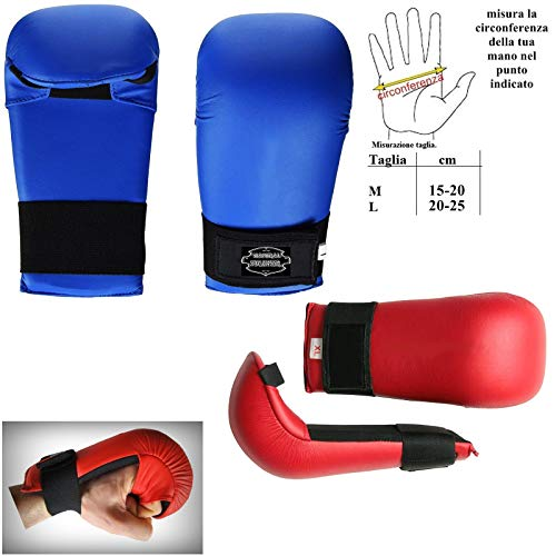 mmasport Guanti Karate Kumite Gloves guantini fitboxe in Pelle Sintetica (Large, Rosso)