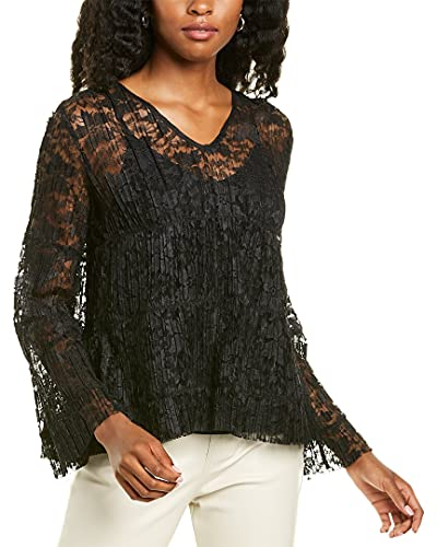 41JG6J+DjiS. SL500 About the brand: 70s-inspired romantic style. Top in black with sheer pleated lace design, V-neck, and bell sleeves Approximately 23in from shoulder to hem