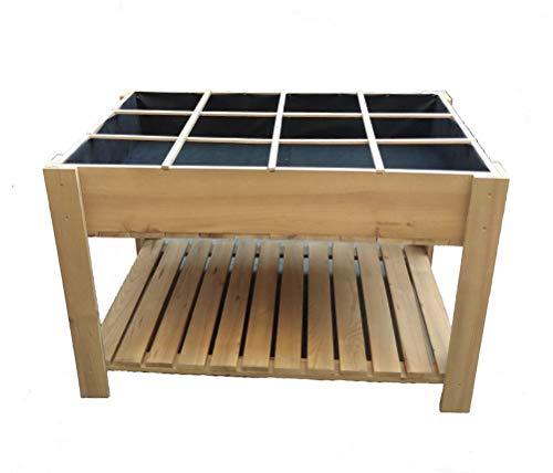 La Noria Mesa de Cultivo huerto Urbano 80x120x80 cm. Montaje Muy fácil y rápido. Separadores extraíbles para Zonas de siembra y Malla geotextil.