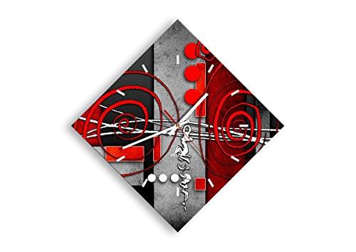 Orologio da Parete - Romboidale - Orologio su Vetro - Larghezza: 42cm, Altezza: 42cm - Numero...