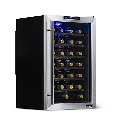 NewAir Wine Cooler and Refrigerator, 28 Bottle Freestanding Wine Chiller Fridge, Stainless Steel with Glass Door, AW-281E
