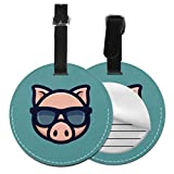 Printed Luggage Tags Cool Pig Sunglasses Icon Piggy Head Baggage Tags For Luggage Travel Bag Name Tag with Adjustable Black Strap For Bags & Baggage with Privacy Protection For Women Men