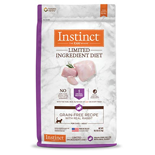 Instinct Limited Ingredient Diet Grain Free Recipe with Real Rabbit Natural Dry Cat Food by Nature's Variety, 10 lb. Bag