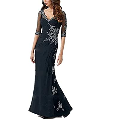 Feature:1/2 Sleeves,V-neck,Floor-length,V-shape,Zipper Up,Built-In Bra,Trend:Elegant,Classic & Timeless,Silhouette:Sheath/Column. Suit for Evening,Cocktail,Wedding Party Prom,Graduation,Birthday Party and most of Formal Occasion. Please refer to our ...
