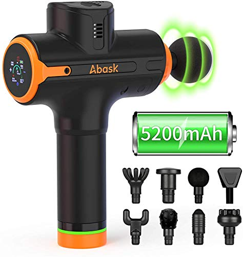 Massage Gun Deep Tissue, Abask Massager Gun with 5200mAh Battery Life Lasts up to 8 Hours, 8 Massage Heads, Percussion Massager with Heart Rate Sensor and Calorie Calculation, 9 Speed Settings, Quiet