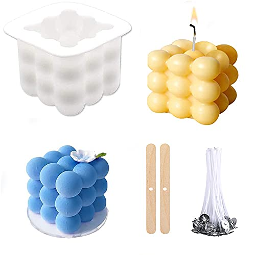 Outgeek Candle Molds 3D Bubble Candle Silicone Molds Cube Candle Making Supplies Handmade Soap with 50Pcs Candle Wicks and 2 Pcs Wick Centering Devices for DIY Crafts Making Handicrafts Candle Decorations