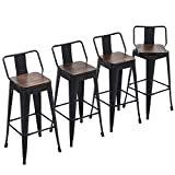 Yongchuang Swivel Bar Stools with Back Counter Height Stools Industrial Metal Stools Set of 4 (Swivel 30', Wood Top Black)