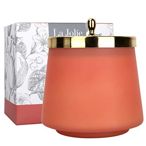 La Jolíe Muse Frischer Apfel Duftkerze, Natürliche Wachskerze für zu Hause, 65-75 Stunden langes Abbrennen, Bergamotte Zitrone Pfirsich Rosmarin, ovaler Glasbehälter, 12.3Oz