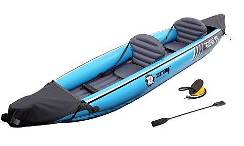 Zray Stand up Paddle Gonflable Roatan 2 Places-PB-ZKK376-Canoë Kayak 100% PVC avec Pompe à Pieds et 2 Pagaies Double Pale-Jusqu'à 160kg-376x77cm (148'x30') Adulte Unisexe, Türkis, Standard