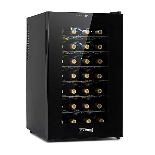 KLARSTEIN Barolo 28 Uno - Frigorifero Vini, Cantinetta, Temperatura: 11-18 C, 26 dB, 6 Ripiani in Metallo, Luce LED, Protezione da UV, Posizionamento Libero, 70 L/ 28 Bottiglie, Nero