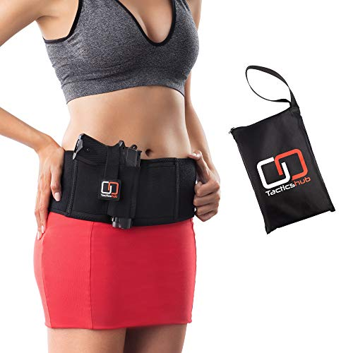Tacticshub Belly Band Holster for Concealed Carry  Gun Holster for Women and Men That fits Glock, Smith Wesson, Taurus, Ruger, and More - Waistband Holster for Pistols and Revolvers