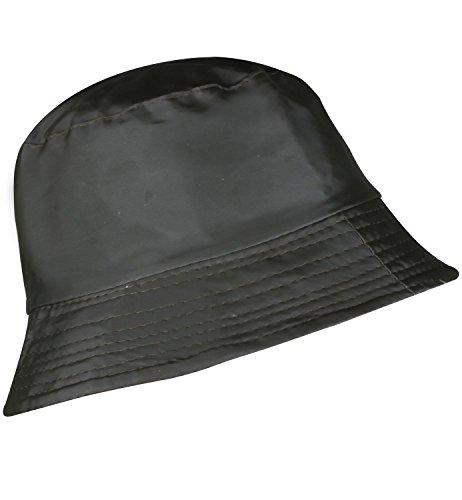 YJDS Women's Rain Hat Waterproof Wide Brim Packable Solid Black