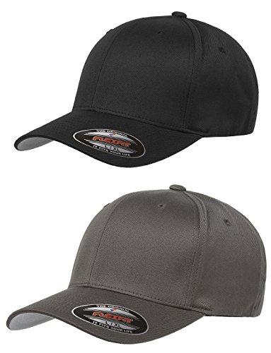 Flexfit-Unisex-Wooly-Combed-Twill-Cap-6277-2-Pack-XLXXL-Black-Dark-Gray