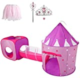 Gift for Girls, Princess Tent with Tunnel, Kids Castle Playhouse & Princess Dress up Pop Up Play Tent Set, Toddlers Toy Birthday Gift Present for Age 3 4 5 6 7 Years, Glow in The Dark Stars, Indoor