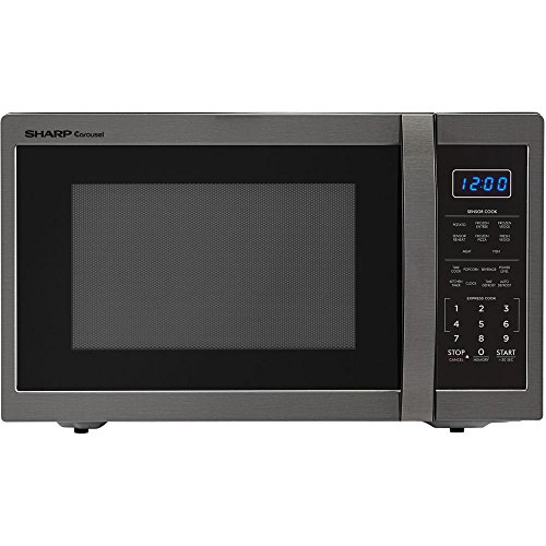 Sharp SMC1452CH Carousel 1.4 Cu. Ft. Countertop Microwave, Black Stainless Steel