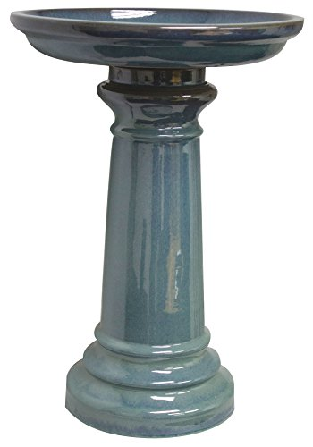 World Source East GP0110ES Harbor Gardens Bird Bath, Light Blue