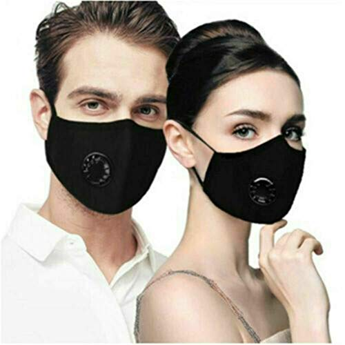 Trulily-Home Reusable PM2.5 Mouth Cover with Filter Cotton 5-Layer Activated Carbon Filters Valved Washable Dust Face Cover Anti Haze Face Cover Unisex Mouth Cover (Black(4 Tablets/1PCS))
