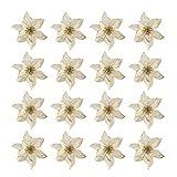 Toyvian 16 Piezas Flores de Navidad Flor de Pascua decoracin de Adornos de rbol de Navidad (Dorado)