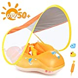 LAYCOL Baby Swimming Float Inflatable Baby Pool Float Ring Newest with Sun Protection Canopy,add Tail no flip Over for Age of 3-36 Months (Yellow, L)