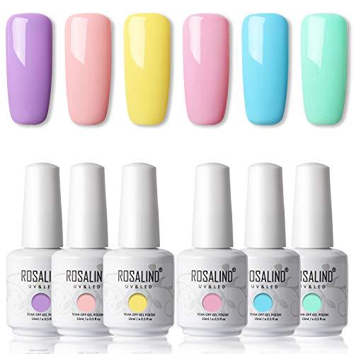 ROSALIND 15ml Gel Nail Polish 6 Colors Set Soak Off Long Lasting Gel Nails Art Solid Semi permanent Manicure Beauty Salon Summer Colors Set