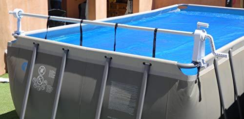 Enrouleur Télescopique Piscine Hors Sol - Gain de place - Mobile sur un axe - Special Couverture Solaire Bâche à bulles été