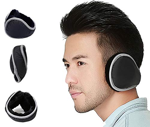 Ear Warmers Waterproof Unisex Adjustable Fleece Earmuffs for Men Women Winter Ear Muffs with Reflective Stripe