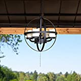 Sunjoy Winfall Collection Sphere Outdoor Battery Powered Four-Light LED Chandelier, Black