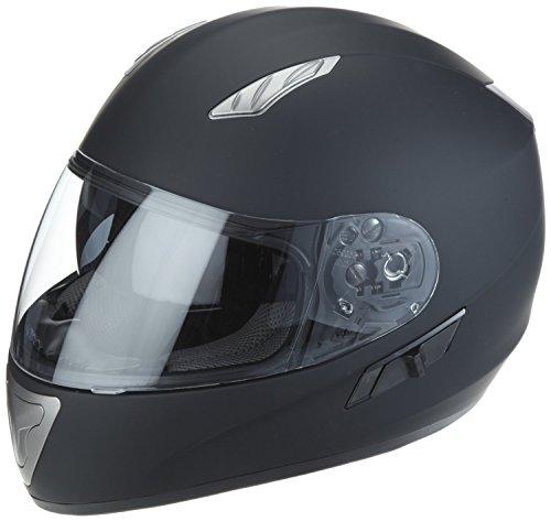 Protectwear Casque de moto, noir mat, avec visière teintée intégrée, H520-ES, Taille: S