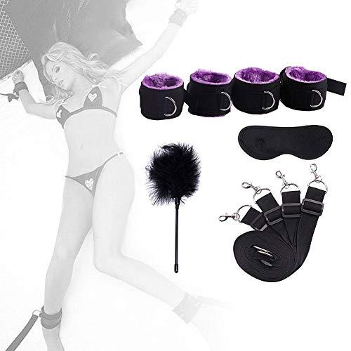 Little Fairy Fang Bondage Set Paare Flirten Bettgurte Bettbindung Handschellen Knöchel Set Damen Alternatives Spielzeug