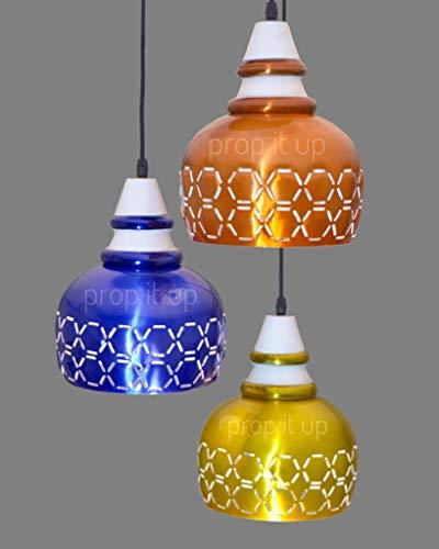 Prop it up 3-Lights Round Cluster Chandelier, Multi Color Pendant Light, Industrial Finish Metal...