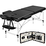 Yaheetech Portable Massage Table 84inch Massage Bed Aluminium Height Adjustable Facial Salon Tattoo Bed (Black)