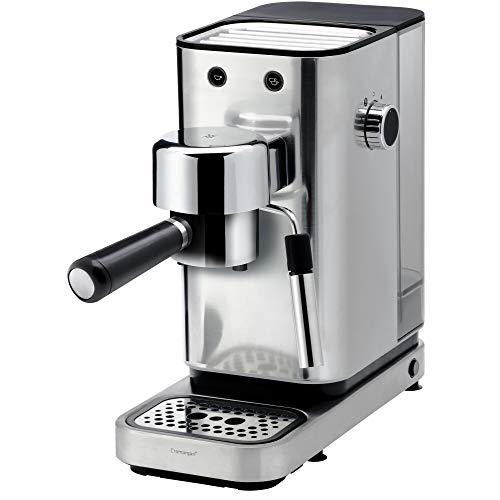 WMF - Macchina da caffè espresso 1400 Watt, 3 inserti, per 1-2 tazze di espresso, anche per cialde, 15 bar, ripiano per tazze, bocchetta per montalatte, in acciaio INOX opaco