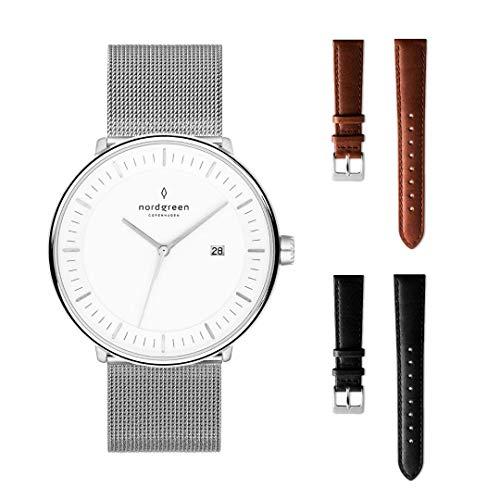 Nordgreen Philosopher Set: Silber Unisex Analog Uhr 40mm (L) mit Silber Mesh Edelstahlarmband Plus Zwei Armbänder: Leder Braun und Leder Schwarz 15001
