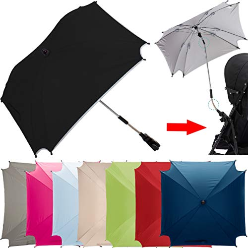 XL SONNENSCHIRM für Kinderwagen und Buggys UV-SCHUTZ 50 / Schirm (WASSERDICHT) (ROT)