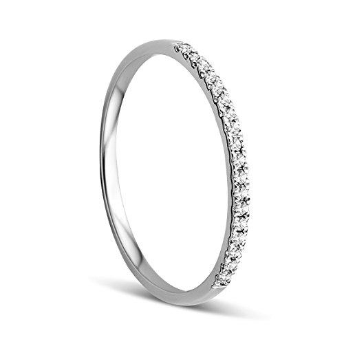 Orovi Anillo Señora compromiso/aniversario en Oro Blanco con Diamantes Talla Brillante 0.09 ct Oro 9 Kt / 375