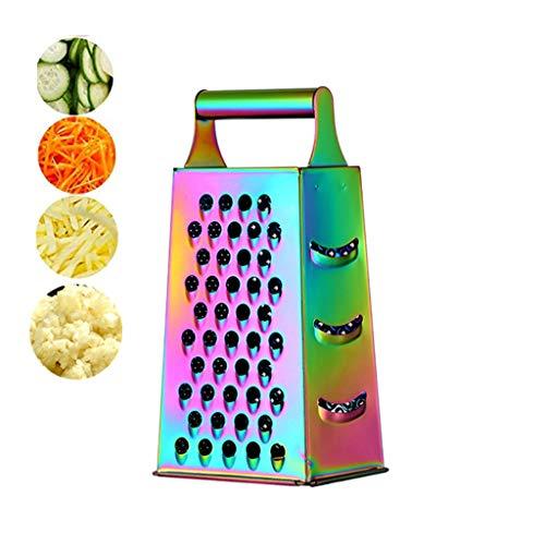 Rallador de queso de acero inoxidable con 4 lados, 22,8 cm de altura, rallador de caja grande, ideal para queso parmesano triturado, verduras, jengibre y frutas, color arcoíris