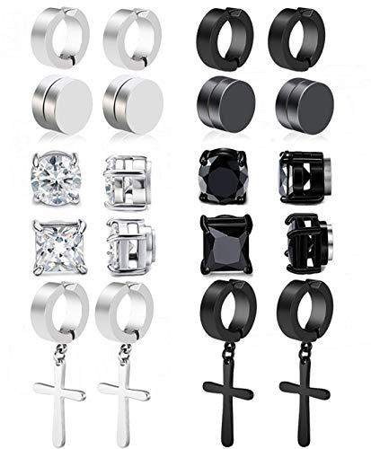 CARSHIER 10 Pairs Non Pierced Magnetic Stud Earrings for Men Women Clip On Huggie Hoop Dangle Earrings Set