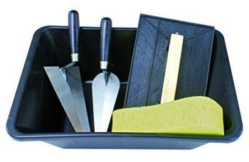 Tec Hit 515700 Kit de maçonnerie : éponge, 2 truelles avec auge 10 L et taloche, Noir