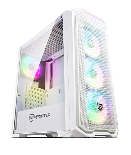 Torre Gaming Nfortec Krater para PC con Cristal Templado y 4 Ventiladores RGB de 120mm incluidos (compatible con placas base de Gigabyte, Asus y MSI) Color Blanco