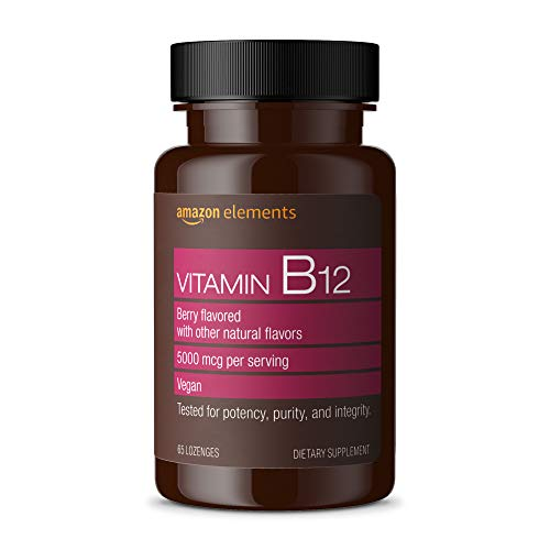 Amazon Elements Vitamin B12 Methylcobalamin 5000 mcg - Normal Energy Production and Metabolism, Immune System Support - 2 Month Supply (65 Berry Flavored Lozenges)