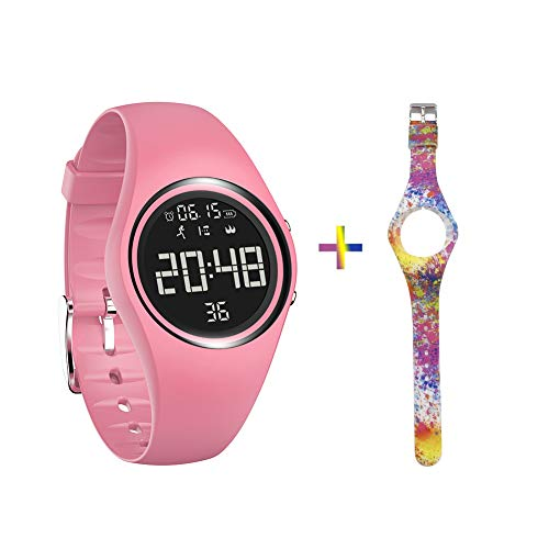 mijiaowatch Non-Bluetooth Fitness Tracker, Waterproof Pedometer Sport Bracelet with Timer Step Calories Counter Date Vibration Alarm for Sport Walking Kids Women Men (Pink)