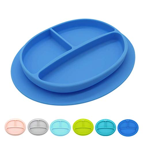Silicone Suction Plate for BabiesColorful Divided Baby and Toddler Dinner PlateFood-Safe, Non-Toxic, and BPA-Free Childrens Dish with Bottom GripDishwasher Safe (Blue Color)