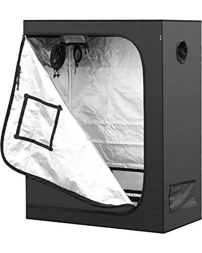 iPower 48'x24'x60' Mylar Hydroponic Water-Resistant Grow Tent with Observation Window and Removable Floor Tray, Tool Bag for Indoor Plant Seedling, Propagation, Blossom, etc 2'x4'