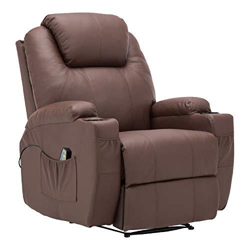 MCombo Modern Massage Recliner Chair Divano Vibrante riscaldato in Pelle PU Lounge ergonomico Marrone 7021